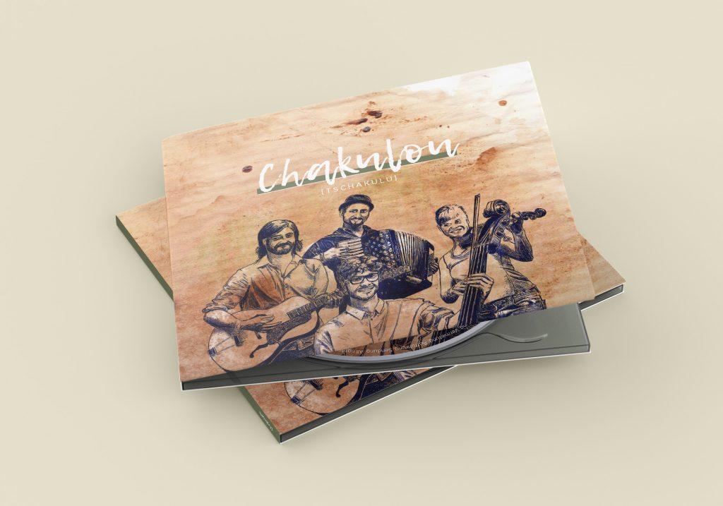 Mockup einer geschlossenen CD-Hülle für die Band Chakulou